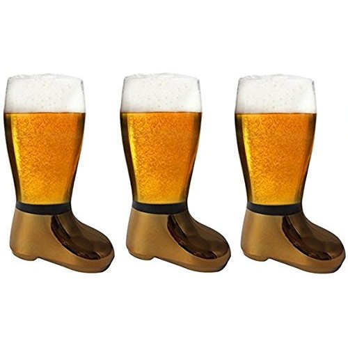 Barraid Three Pack Beer Boot Glass Golde...