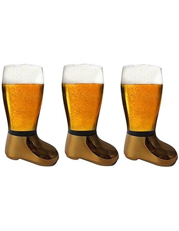 Barraid Three Pack Beer Boot Glass Golden Eletcroplated Capacity 750 ML