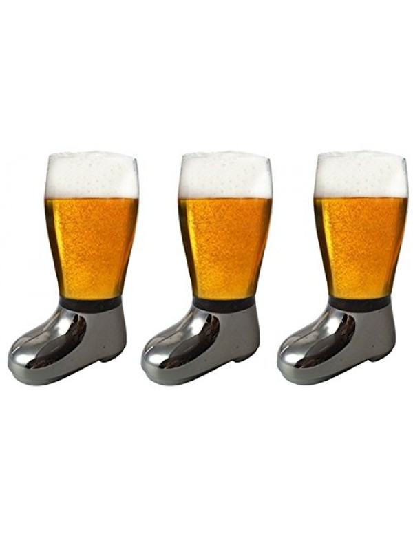 Barraid Three Pack Beer Boot Glass Silver Eletcrop...