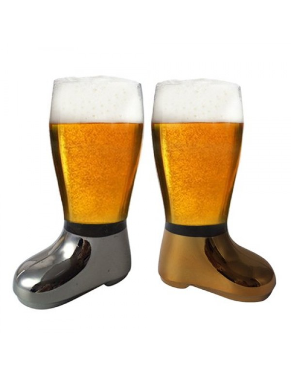 Barraid Beer Boot Glass Silver Golden Combo Eletcroplated 750 ML Capacity Each