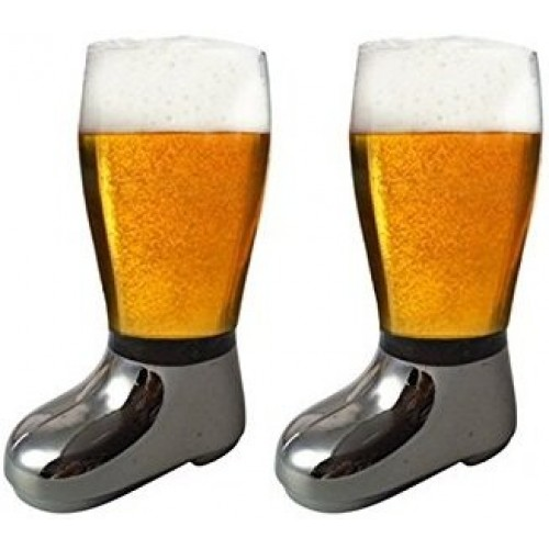 Barraid Two Pack Beer Boot Glass Silver ...