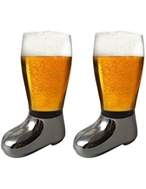 Barraid Two Pack Beer Boot Glass Silver Eletcroplated Capacity 750 ML