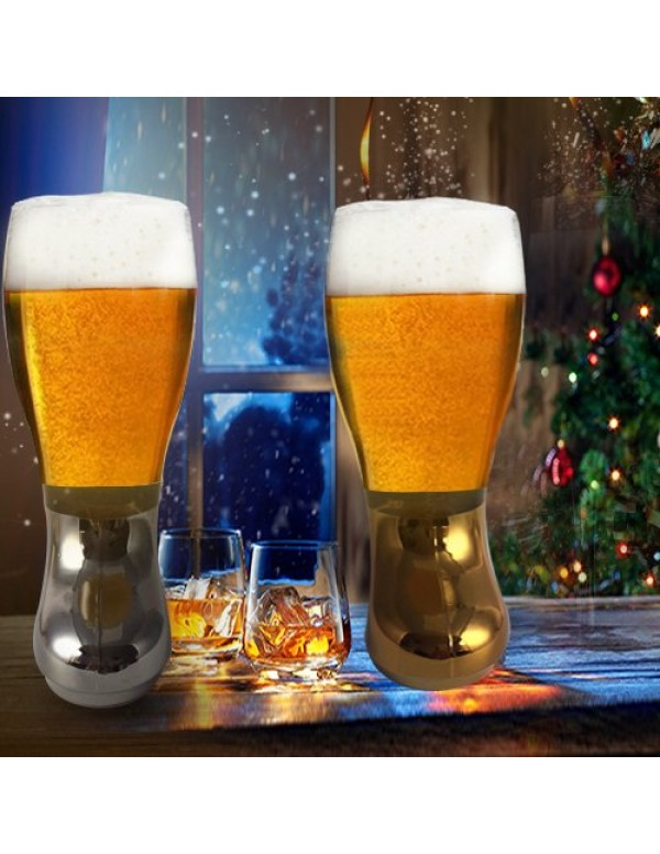 Barraid Beer Boot Glass Silver Golden Combo Eletcr...