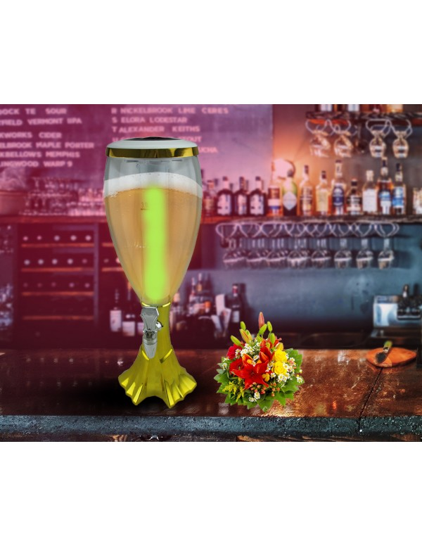 BARRAID Grand Cup Dispenser/Decanter for Beer/Whisky/Wine with Sparkling Multicolour LED Lights for Home/Bars/Pubs (3000 ml/3 L Multicolour Red Blue Green Golden)