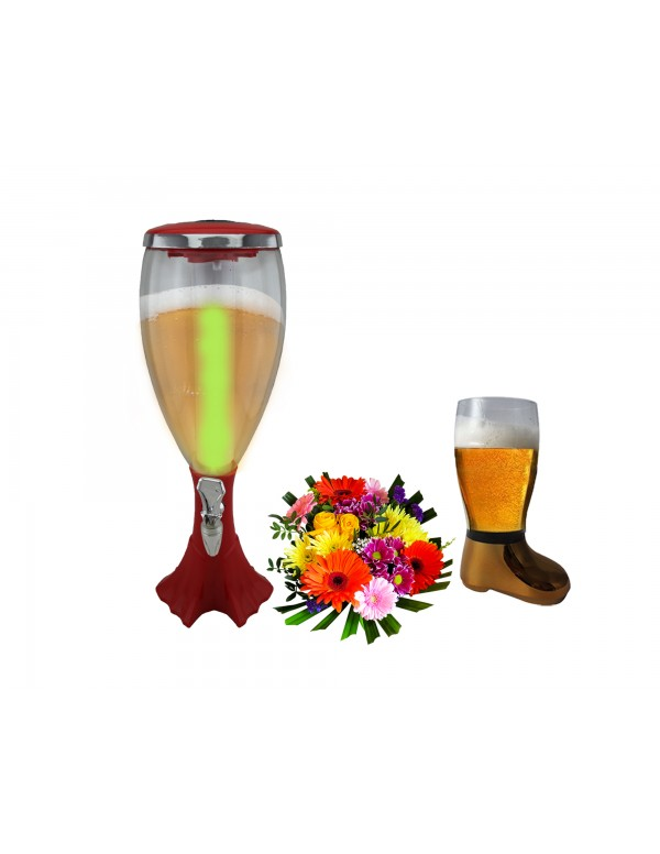 BARRAID Amazing Grand Cup Dispenser Party Beer Dispenser/Decanter for Beer/Whisky/Wine with Sparkling Multi Colored LED Lights (Capacity 3000 ml RED Color) with Golden Beer Boot Glass (750 ml)