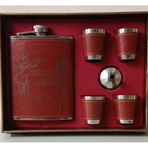 Hip Flask Stainless Steel/Faux Leather 2...