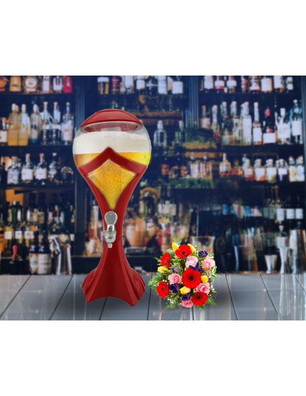 BARRAID Grand Party Tower/Dispenser/Decanter for Beer/Whisky/Wine with Sparkling Multicolour LED Lights for Bars/Pubs (3000 ml/3 L)