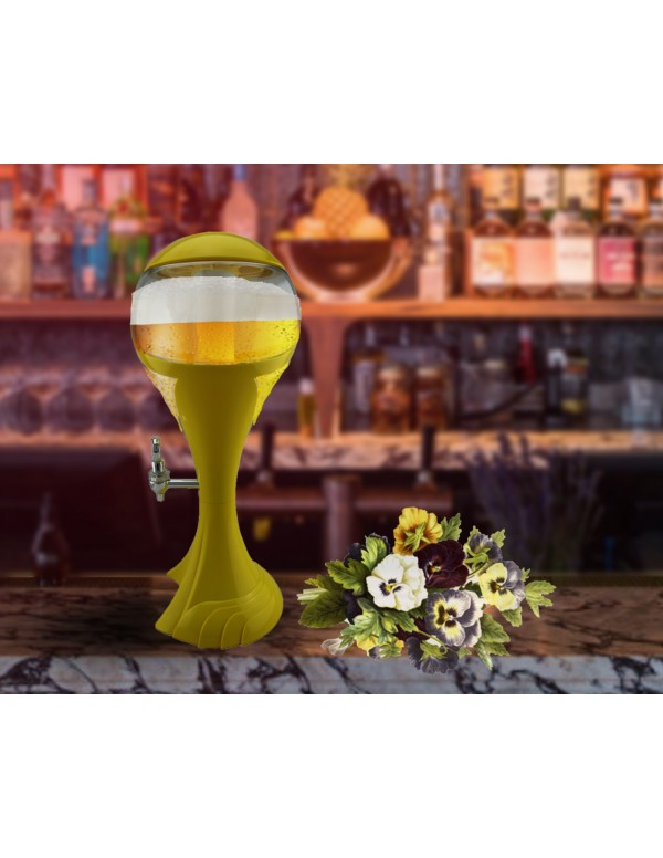 BARRAID World Cup Grand Party Tower/Dispenser/Decanter for Beer/Whisky/Wine with Sparkling Multicolour LED Lights for Bars/Pubs (3000 ml/3 L)