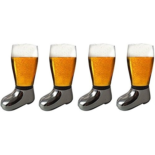 Barraid Four Pack Beer Boot Glass Silver...