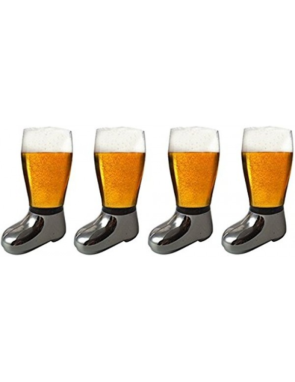 Barraid Four Pack Beer Boot Glass Silver Eletcroplated Capacity 750 ML