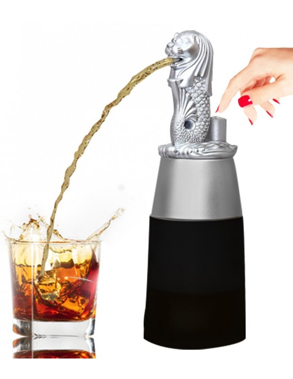Barraid Singapore Lion Liquor Dispenser Silver Round Shape with Black Jar 500 ML Capacity