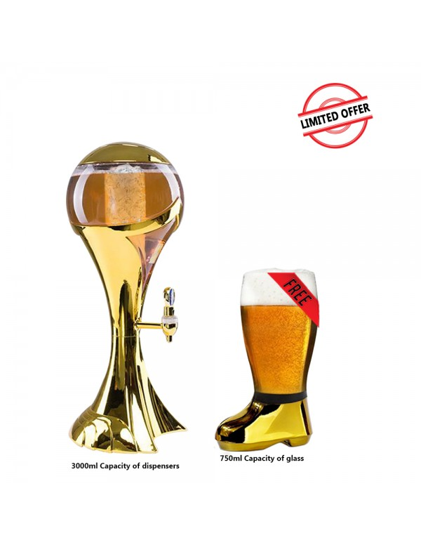 BARRAID Amazing Offer Silver World Cup Beer Tower/Dispenser/Decanter with Sparkling Multi Colored LED Lights Capacity 3000 ml (3 litres) with Free Golden Electroplated Beer Boot Glass (750 ml)