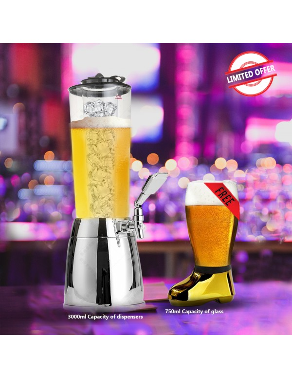 BARRAID Amazing Offer Elite Beer Dispenser (Capacity 2500 ml) with Free Golden Electroplated Beer Boot Glass 750ml