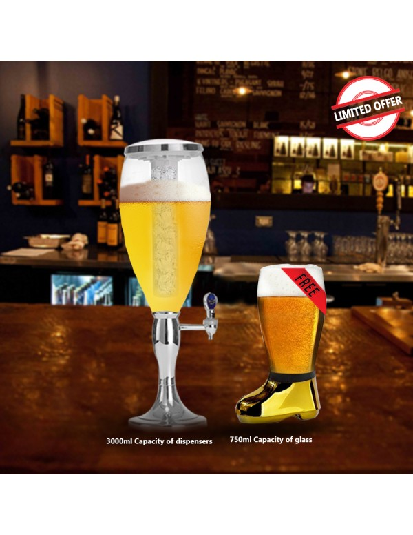 BARRAID Amazing Offer Grand Party Beer Tower/Dispenser/Decanter for Beer/Whisky/Wine with Sparkling Multi Colored LED Lights (Capacity 3000 ml) with Free Golden Electroplated Beer Boot Glass (750 ml)
