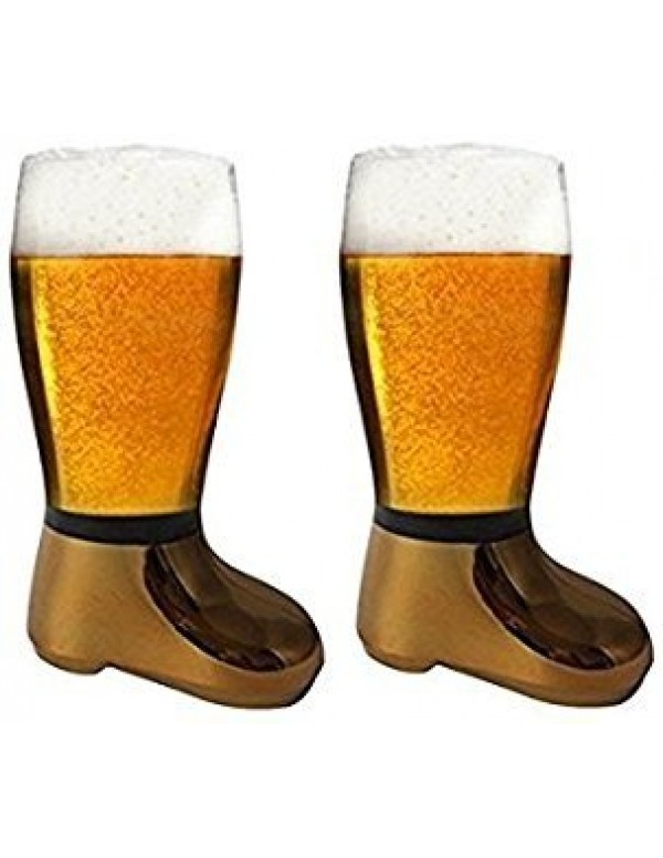 Barraid Two Pack Beer Boot Glass Golden Eletcroplated Capacity 750 ML